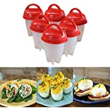 Kwikbuy 6 Pcs Silicone Egg Cooker Hard Boiled Eggs Without The Shell for Egg Tools Random Color