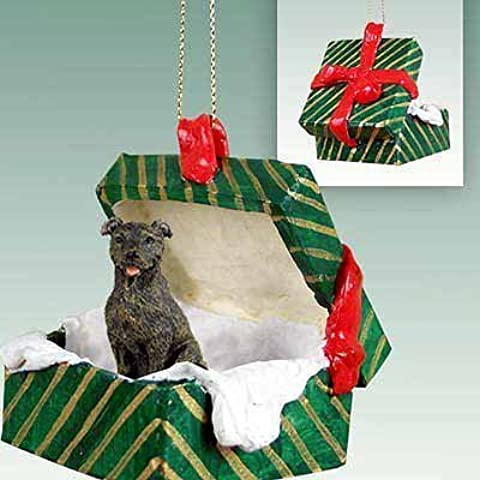 Conversation Concepts Staffordshire Bull Terrier Brindle Gift Box Green Ornament by Conversation Concepts