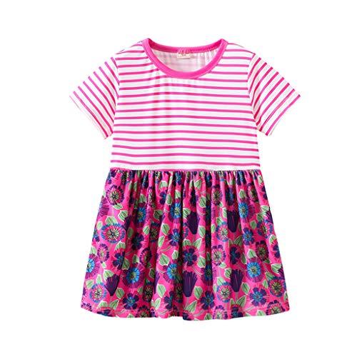 Hokoaidel Mädchen Streifen Drucken Baumwolle Freizeit Sommer Kleider Baby Prinzessin Blume Print T-Shirt Kleid Casual Minikleid Party Abendkleid Sommerkleid