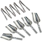 Scoops Ice Tongs - TOOGOO(R) 5 x 5oz Sweet Scoops & 5 x 5' Ice Tongs Wedding Candy Buffet Bar Stainless Set Silver