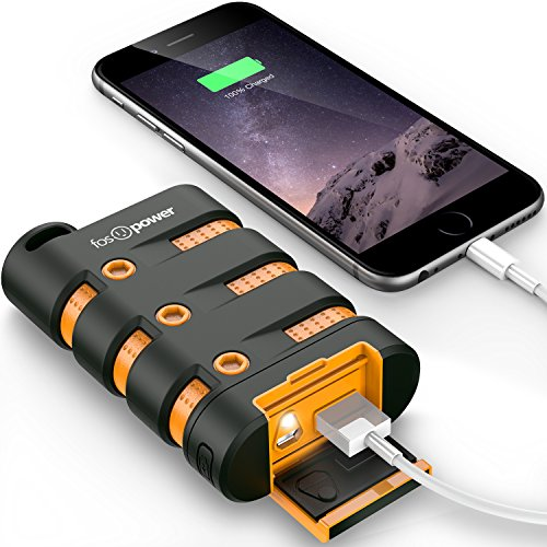 FosPower PowerActive 10200mAh cargador portatil movil [Agua/Choque/Polvo-Prueba] 2.1A USB Outdoor PowerBank batería externa con LED y compás para iPhone 7/7 Plus/6s/6s Plus, Galaxy S7/S7 Edge