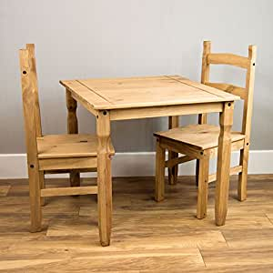 Home Discount Corona Dining Set 2 Seater Solid Pine Wood