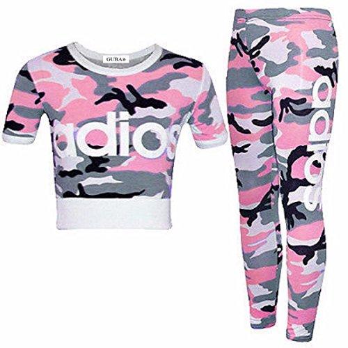 Guba® Mädchen-Top und Leggings, 2-teiliges Set, Camouflage, 7-13 Jahre Gr. 11-12 Jahre, Adios Pink Camouflage