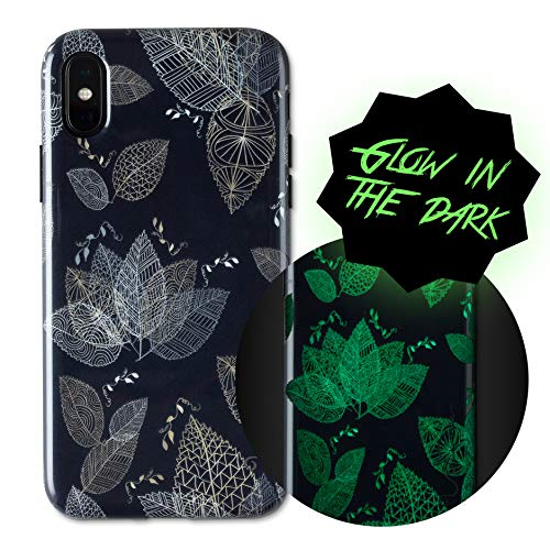 Wilma iPhone X Case, iPhone XS Case, Leaf [Glow In The Dark] Slim Case Soft Plastic Protective Phone Cover Case for iPhone X (2017)/ iPhone XS (2018) - Black (Partys Zubehör Für In The Dark Glow)