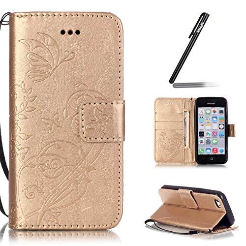 4067bf4149 iPhone 5C Custodia Pelle,Ukayfe PU Disegni dipinto Case Cover Protettiva  Portafoglio Protettivo Copertura Wallet