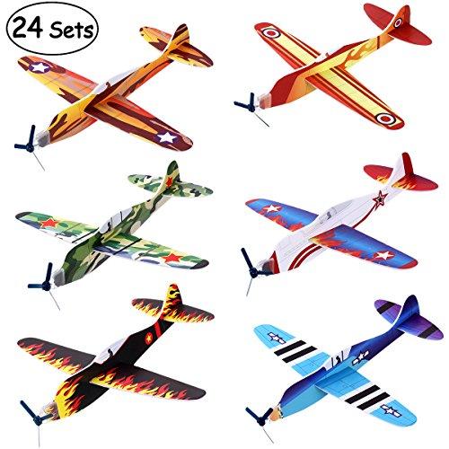 iBaseToy Fliegende Gleiter - Gleitflugzeuge zum Spielen für Kinder als Preis Und Mitgebsel für den Kindergeburtstag Mitgebseltüte Füller, 24 Stück