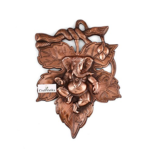 Collectible India God Ganesha On Leaf Metal Wall Hanging Sculpture | Lord Ganesh Idol Home Decor Ganpati Lucky Feng Shui Wall Art | 51wvUTalS8L