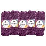 maDDma  5 x 100g Strickgarn Kartopu Cotton Mix Strickwolle Häkelgarn Sommergarn Farbwahl, Farbe:2130S Aubergine