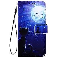 Phcases Funda Cubierta de Teléfono LG W10 Cuero Premium con Pintura Colorida en Anti Golpes y Billetera con Ranura para Tarjetas, Cierre Magnético-Gato y Sol.
