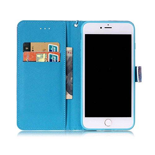 iPhone 7 Plus Coque Bling Cristal Strass Cuir Etui Rabat Style Portefeuille Case Housse Protection Avec Carte Slots pour Apple iPhone 7 Plus 5.5 inch Avec 3D Peinture colorée - Plumage bleu-1