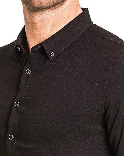 BLZ jeans - Mann vereint Hemd schwarz Spandex knöpft Schwarz