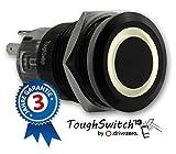 .drivezero. ToughSwitch '19 – Schalter schwarz (bis 230V / 5A) mit LED-Leuchtring Warmweiss 12V, staub- und wasserdicht (IP67)