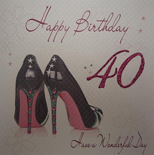 WHITE COTTON CARDS Schwarz Schuh 's Happy Birthday 101,6cm zum 40. Geburtstag, handgefertigt, Weiß Bliss Stiletto Heel