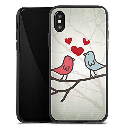Apple iPhone X Silikon Hülle Case Schutzhülle Herz Vogel Love Silikon Case schwarz
