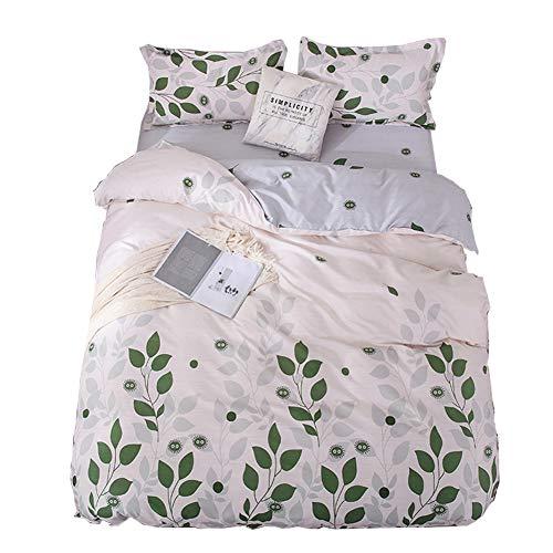 ED-Lumos 4 teilig Bettgarnitur Bettwäsche Set Bettbezug Betttuch Kopfkissenbezug Baumwolle Beige mit grünen Blättern 220 cm x 240 cm (Baumwolle Bunte Blatt König)