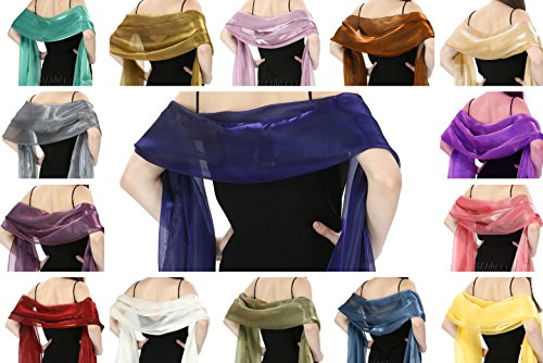 World of Shawls Silky Iridescent Scarf Wrap Stole Shawl For Wedding Bridal Bridesmaids Evening Wear Prom & Parties