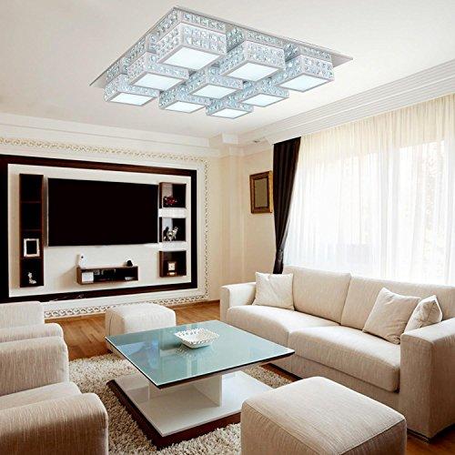 Einfache und elegante LED-9-Kopf moderne Kristalldeckenleuchte für Wohnzimmer, LED-Acryl-Schlafzimmer Deckenleuchten (weiß)