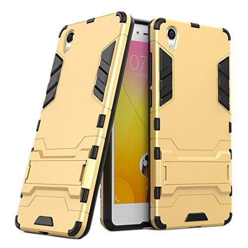 LR Graphic Designed Kick Stand Hard Dual Rugged Armor Hybrid Bumper Back Case Cover for Vivo Y51 / Vivo Y51L - Gold