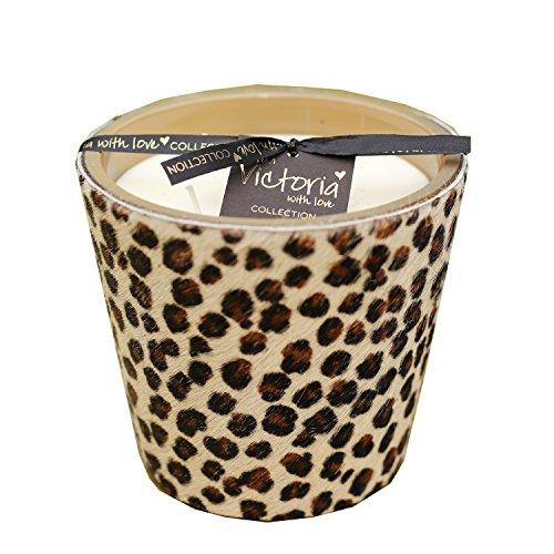 Große Kerze mit Fell im Leopardenmuster und drei Dochten 13 cm hoch und Ø 14 cm