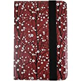 Emartbuy PU Leather Multi Angle Executive Folio Wallet Case Cover for Xiaomi Mi Pad 4 Plus (Size 9-10 Inch_Red Japanese Floral)