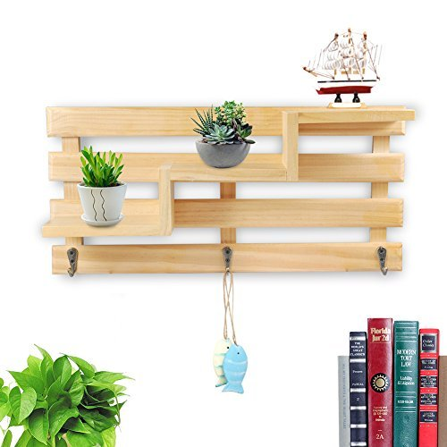 Floating Einlegeböden Holz Storage Rack Trapez Form Wandregal Holz Organisieren Wandregal Home Ornament Wand Decor helles holz - Wand Regal Home Decor