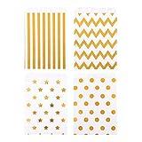 ewtshop 48 Stück Candy-Tüten Geschenktüten mit Golddruck, für Süßigkeiten und Geschenke Aller Art, 4 Verschiedene Designs