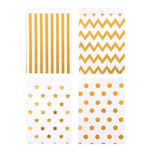 ewtshop® 48 Stück Candy-Tüten Geschenktüten mit Golddruck, für Süßigkeiten und Geschenke Aller Art, 4 Verschiedene Designs -