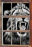Monocrome, Dark Brüllender Löwe Schwarz/Weiß Fenster im 3D-Look, Wand- oder Türaufkleber Format: 62x42cm, Wandsticker, Wandtattoo, Wanddekoration