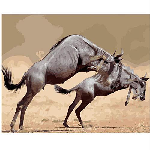 XIGZI Animals of Africa DIY Malerei Kit Farbe Nach Zahlen Kit DIY Ölgemälde Auf Leinwand Geschenke Wandkunst 40X50 cm,Ohne Rahmen,F