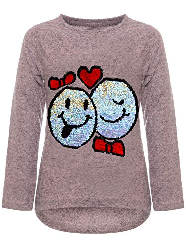 BEZLIT Mädchen Kinder Pullover Wende Pailletten Sweatshirt Meliert 22856 Rosa Größe 104