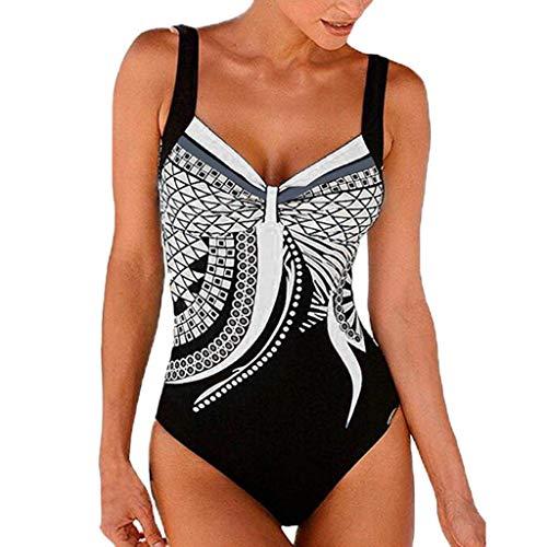 YUNLI Einteilige Badeanzüge für Frauen, die Badebekleidung von Monokini Tummy Control in Übergrößen und Badeanzügen mit V-Ausschnitt und Neckholder abnehmen (Color : Weiß, Size : S)