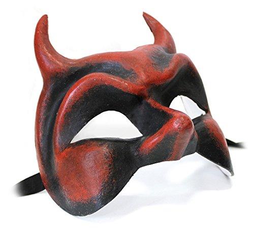Bauta Kostüm Maske (Venezianische Maske Damen Herren Diavolo Teufel rot Handarbeit Original Karneval Masken Venezianisch aus Venedig für Maskenball Fasching oder)
