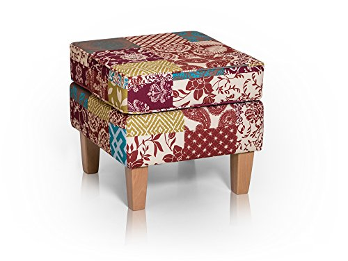 WILLY Hocker Sitzhocker Polsterhocker Fußhocker Fußablage Patchwork Bunt