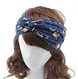SONGQEE(TM) Women Flower Hair Band Twisted Knotted Yoga Head Wrap Turban Head Wrap Headband (Navy)