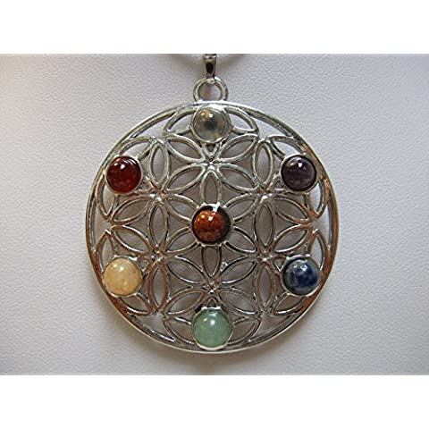 Natural mente–Ciondolo Chakra, minerali dei 7Chakra, ciondolo per collana, amuleto, fiore della Vita, con plastica Band, pietre preziose, n. 87