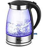 Amzdeal Wasserkocher Edelstahl + Glas + Kunststoff-Abdeckung Griff mit LED-Blaulicht Kapazität 1.8L Leistung 1800W