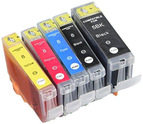 Cli-8 Tinte Rot (Prestige Cartridge PGI-5 CLI-8 5er Pack Druckerpatronen für Canon Pixma MP 500 530 600 R 610 800 R 810 830 950 960 970 iP 4200 4300 4500 5100 5200 R 5300 schwarz photoschwarz cyan magenta gelb)