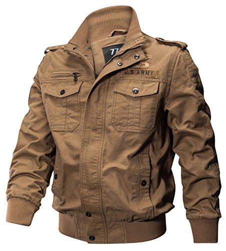 moxishop Hommes 100% coton Vestes Bomber Champ militaire manteau vêtements d'extérieur Outdoor uniforme (L, fr9931-Kaki)