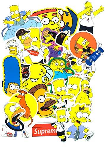 ⭐Top Aufkleber! ⭐ Set von 25 The Simpsons Aufkleber Premium Qualität - Vinyls Stickers Nicht Vulgär - Fashion, Stil, Bombe, Graffiti - Anpassung Laptop, Gepäck, Motorrad, Fahrrad, Skateboard