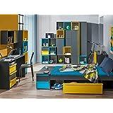 Dormitorio juvenil Bico 01(9piezas) Antracita/Azul/Amarillo