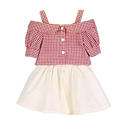 Girls T-shirts+Mini Skirts Clothing Set, Transer® 2PCS Toddler Tshirts 1-6 Years Kids Baby Girls Summer Tops+Plaid Skirt Infants Shirt & Short Dress Outfit Clothes Set