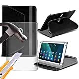 """(Black) 10.1"""" Fusion5 105B [10.1 inch ] Case [Stand Cover] for 10.1"""" Fusion5 105B [10.1 inch ] Tablet PC Case Cover Tablet [Stand Cover] Durable Synthetic PU Leather 360 Roatating cover Case [Stand Cover] with 4 springs WITH GENUINE TEMPERED GLASS SCREEN PROTECTOR i-Tronixss"""