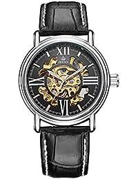 GuTe nostálgico romano esqueleto automático mecánico reloj de pulsera Negro para hombre