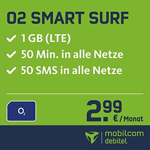 O2 Smart Surf mit 1GB LTE Internet Flat max. 21,1 MBit/s, 50 Frei-Minuten & 50 SMS in alle deutschen Netze, 24 Monate Laufzeit,  monatlich nur 2,99 EUR, Triple-Sim-Karten