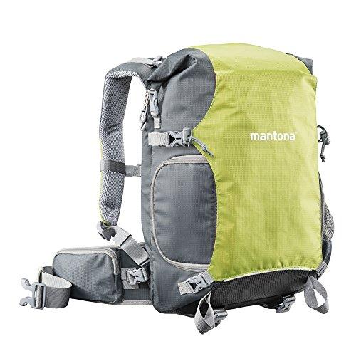 Mantona ElementsPro 30 Outdoor Rucksack (inkl. abnehmbarem Hüftgurt und Regenhülle, geeignet für DSLR- oder Systemkameraausrüstung) grün