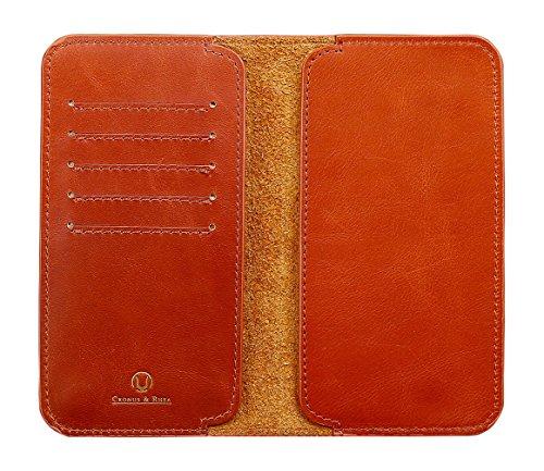 Cronus & Rhea® | Luxus Smartphone Geldbörse aus exklusivem Leder (Cerberus) | Apple iPhone XS XR 8 7 X | Hülle | Echtleder | Mit eleganter Geschenkbox | Herren - Damen (Cognac, L)