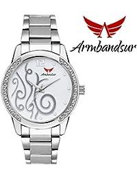 Armbandsur silver case white dial watch-ABS0053GSW