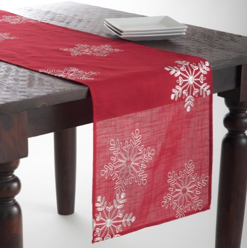 owflake Holiday Christmas Red Table Runner. 16x70 Rectangular. One Piece. by fenncostyles.com (Red Christmas Table Runner)