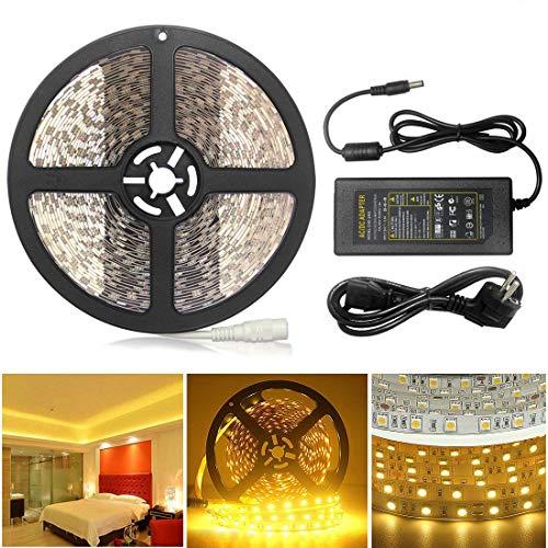 AveyLum 10M LED Streifen Warmweiß 5050 SMD 600 LEDs LED Lichtleiste 32.8ft mit DC 24V 6A Netzteil für Haus Küche Weihnachtsfest Hochzeit Schaufenster Dekoration -