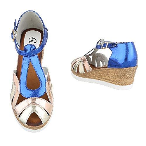 Ital-Design - Sandali alla schiava Donna Blu/Oro